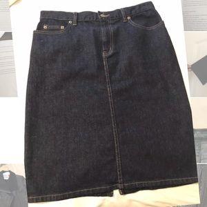 NWOT Lauren Ralph Lauren denim knee length skirt